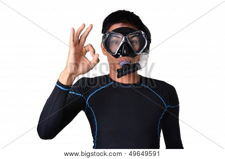 Man With Snorkeling Equipment Isolated