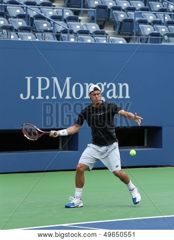 Two times Grand Slam champion Lleyton Hewitt practices for US Open 2013 at Arthur  Ashe Stadium