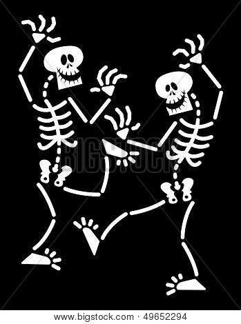Couple of Halloween skeletons dancing