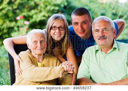 Son And Grandchildren Visiting Granny