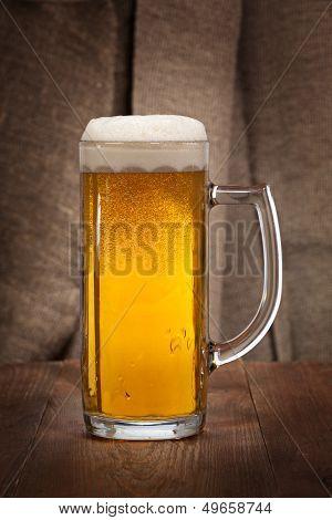 Beautiful Glass Mug Of Beer On The Table