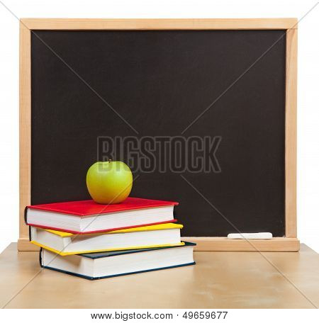 Back To School. School Board And Books And Apple Isolated
