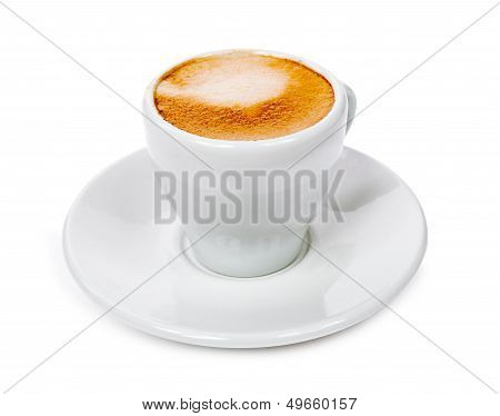 Cup With Fragrant Coffee On A Saucer Isolated On White Background