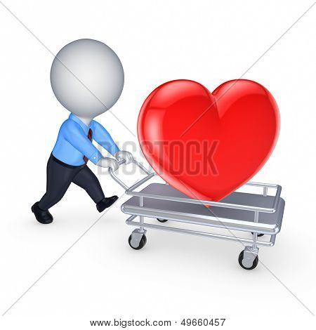 3d person with red heart on pushcart.