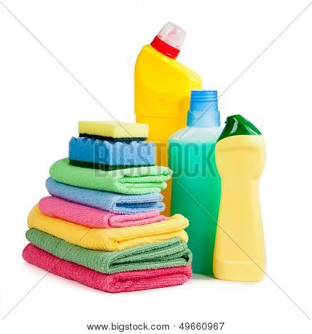 Bottles Of Chemicals, Sponges For Washing Dishes And Napkins For Cleanliness Isolated On White Backg
