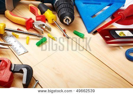 Herramientas de construcción. Fondo de concepto de renovación de casa y de la casa.