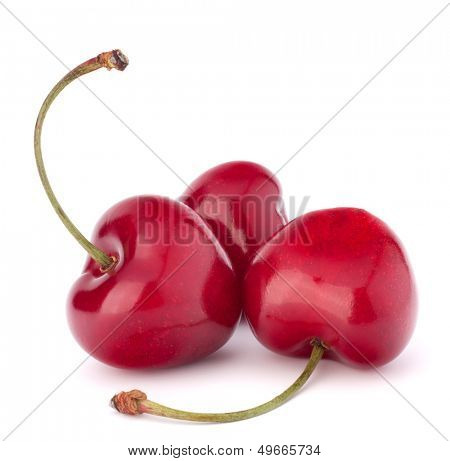 Heart shaped cherry berries isolated on white background