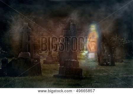 Ghost of young girl walking through cemetery at night