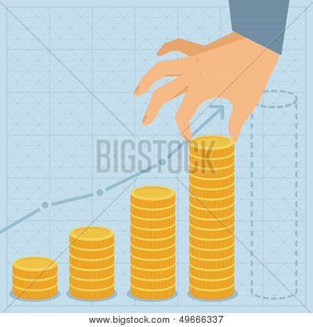 Vector Business Plan - Golden Coins In Flat Style