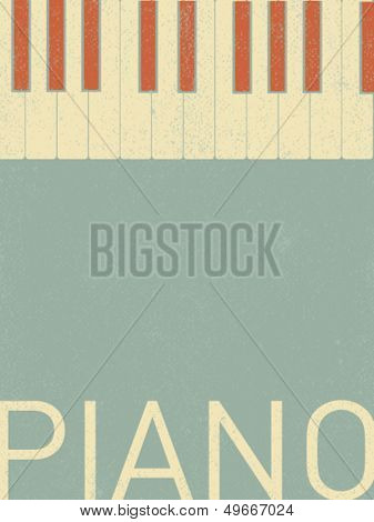 vector retro piano keyboard illustration