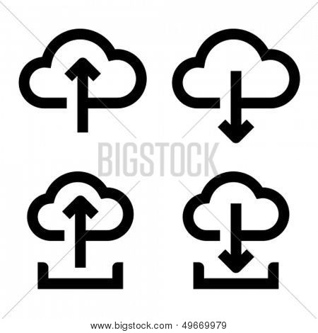 Upload to cloud, download from cloud, upload to cloud from hard drive, download from cloud to hard drive icons