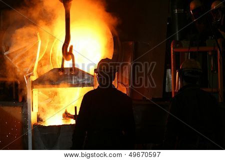 Smelting metal liquid iron foundry