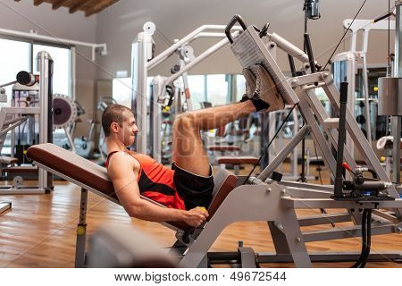 Man working out in a fitness club