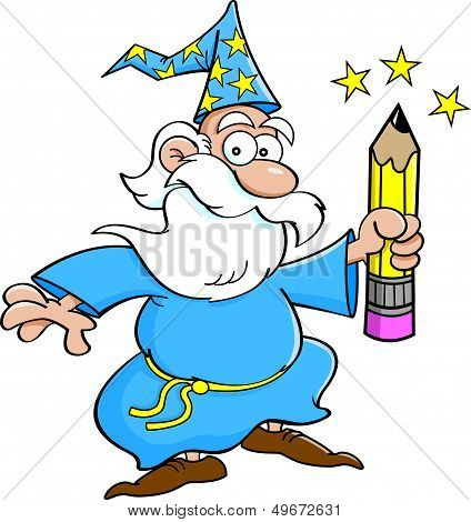 Cartoon wizard with a pencil