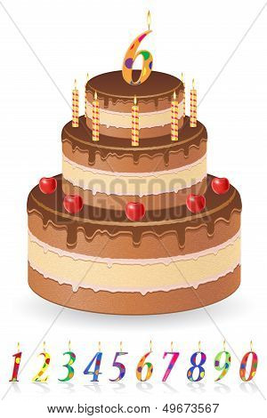 Chocolate Birthday Cake With Numbers Of Age Vector Illustration