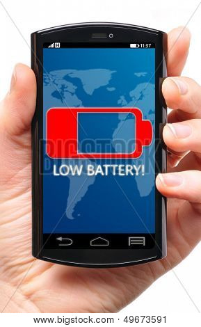 battery is getting low on touch screen phone, cut out from white.