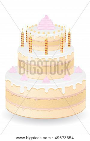 Cake With Burning Candles Vector Illustration