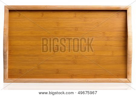 Small wooden table, isolated on white background