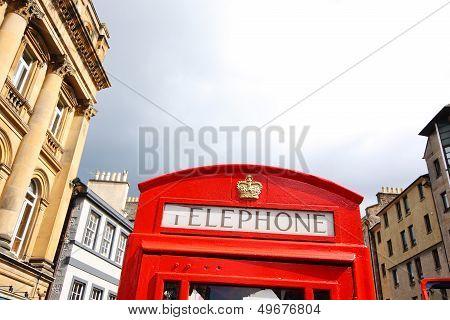 Red British Phonebox In Edinburgh