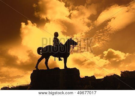 Boer War Monument In Princes Street Gardens In The Sunset