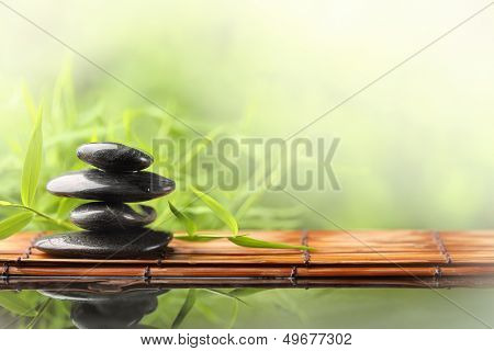 Spa still life with zen stone and bamboo