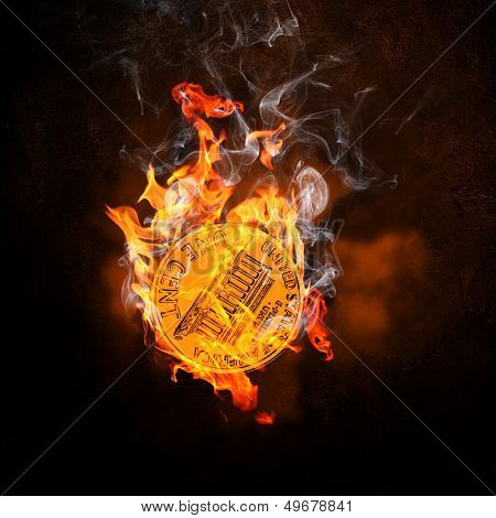 Illustration of one cent coin in fire flames. Money concept