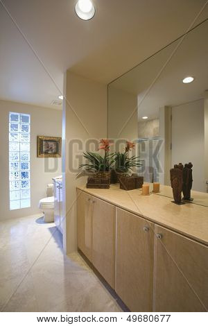 Cupboard storage and large mirror with glass bricks in bathroom