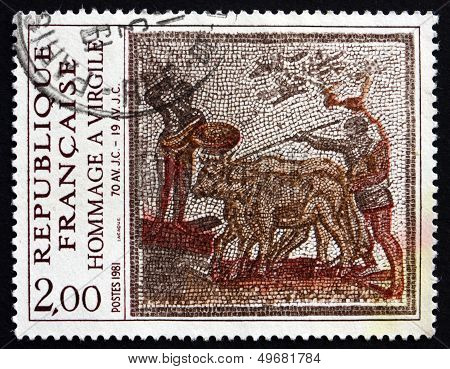 Postage Stamp France 1981 Men Leading Cattle, Roman Mosaic