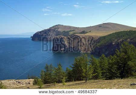 High steep banks of Olkhon. Lake Baikal, Russia.