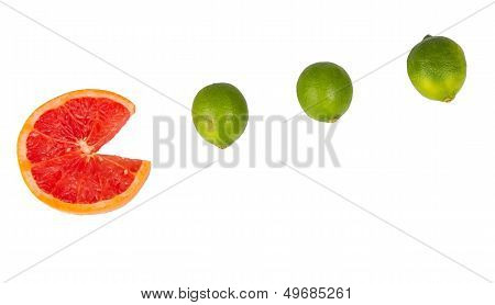 Sliced Orange With Small Limes