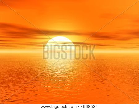 Golden 3D Sunset Over Ocean