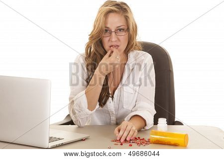 Woman Computer Taking Pills