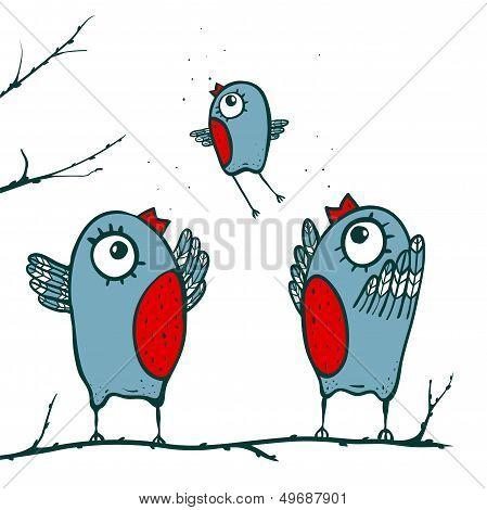 Happy Birds Family Teaching to Fly