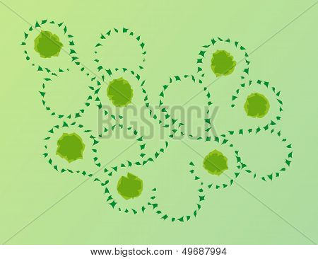 Abstract Green Pieces In Wind