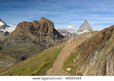Trail at Riffelhorn with Matterhorn, Zermatt, Alps, Switzerland