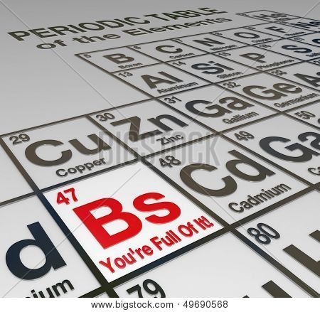 The abbreviation Bs on a peridoic table of elements, with the words You're Full Of It to call out a liar, false, untrustworthy person or company who cannot be trusted
