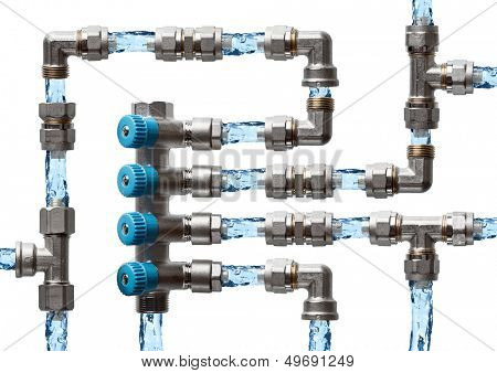 Pipes and fittings labyrinth with water, concept of water supply system in house