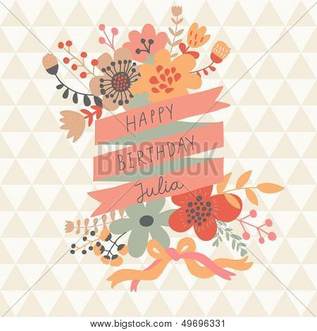 Stylish floral design element with textbox in vector. Bright summer card � ideal for vintage holiday invitations