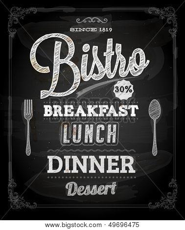 Bistro Chalkboard Poster, vector illustration for vintage design