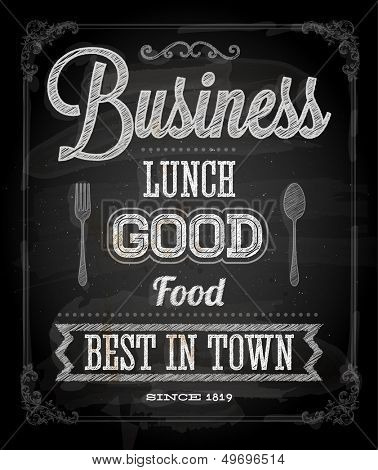 Chalkboard Business Lunch Poster, typographic design