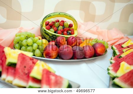 Fruits and berries on wedding table