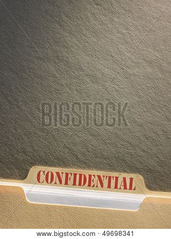 Confidential file folder on background