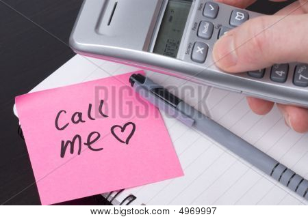 Call Me Message On Pink Note