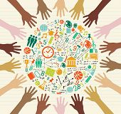 stock photo of grids  - Back to School global icons education diversity human hands - JPG