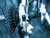 stock photo of mountain chain  - Rear mountain bike cassette on the wheel with chain - JPG