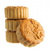 picture of mid autumn  - Traditional mooncakes isolated on white background - JPG