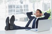 pic of recliner  - Successful businessman in his office relaxing with his feet on his desk - JPG
