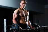 stock photo of dumbbells  - Strong man  - JPG