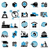stock photo of warehouse  - Logistics icons - JPG
