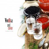 image of vodka  - Vodka and caviar over white  - JPG